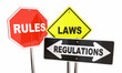 Rules Laws Regulations Stop Yield Road Signs 3d Illustration - 153295085