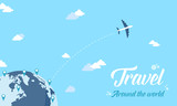 Travel design woth world and plane