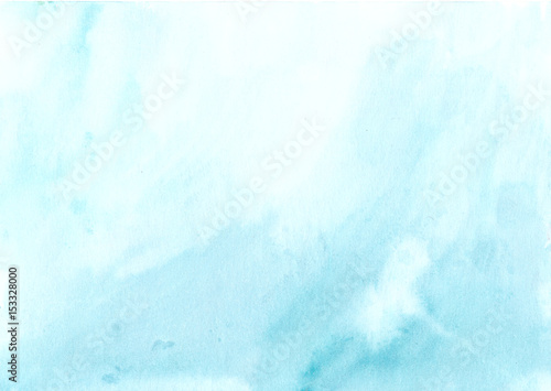 Watercolor background blue white, soft pastel ink splatter texture - 153328000
