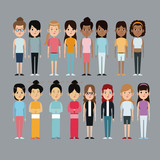 cartoon woman differents culture race ethnic vector illustration