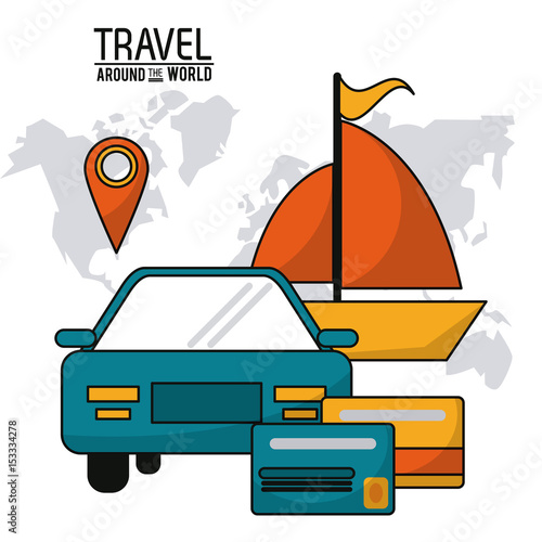 travel around the world. vehicle car ship boat credit card map vector illustration