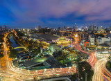 Bangkok Railway Station (Hualanpong) top view in the twilight. long exposure cityscape photography, Bangkok, Thailand