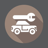 Car service flat icon. Round colorful button, circular vector sign with long shadow effect. Flat style design