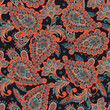 Floral seamless pattern with paisley ornament. Vector illustration in asian textile style  - 153383062