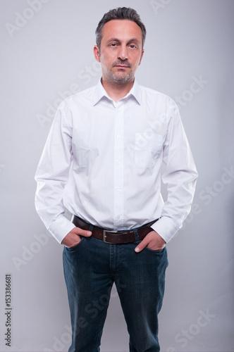 Handsome engineer posing wearing white shirt