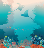 Two stingrays, coral reef and sea. Underwater vector. - 153403656