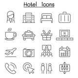 Fototapety Hotel icon set in thin line style