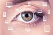 Biometric security retina scanner. Young woman imprint eye scan on computer, phone - 153431004
