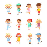 Collection of happy children. Group of preschool children.
