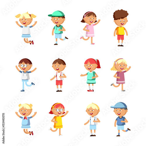Collection of happy children. Group of preschool children. © oxygen_8