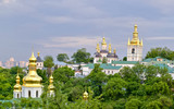 Ukraine. Kiev Pechersk Lavra that is known as the Kiev Monastery of the Caves. The church of the Nativity of the Most Holy Mother of God, the monks' cells and the pathway to the Far Caves.
