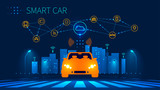 Smart car wireless network connection with smart city. Smart vehicle and automotive technology. Icons of city infrastructure. Taxi Future concept. Vector illustration.