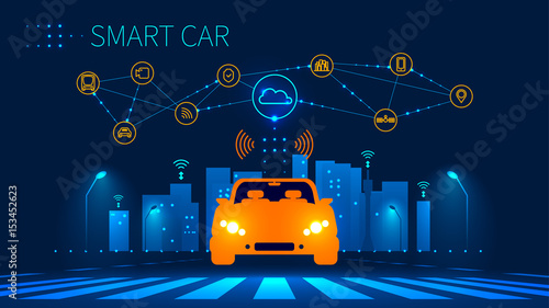 Smart car wireless network connection with smart city. Smart vehicle and automotive technology. Icons of city infrastructure. Taxi Future concept. Vector illustration. - 153452623