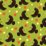 Toucan bird and colored polka dots. Seamless pattern. The nature of the tropics. Exotic bird. Design for a banner, a poster, textiles, paper, books.