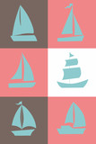 Set of sailing ship types isolated located in square sections