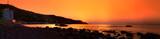 Sunrise panorama on the South coast of Crimea in warm colors