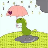 freehand drawn thought cute cartoon dinosaur