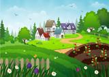 Houses on a grassland