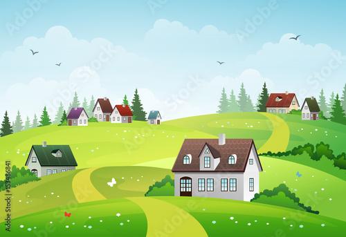 Fotobehang Boerderij Rural landscape
