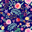 Watercolor hand painted rose floral seamless pattern - 153495477