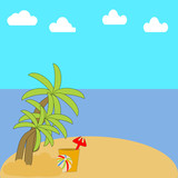 A vacation on a beach with palm trees, Ocean, sky and clouds with Umbrella, suitcase and beach toys.
