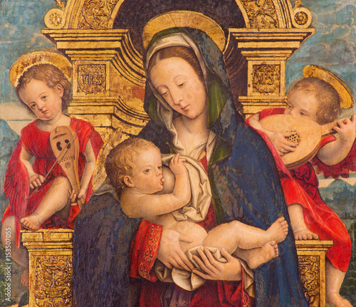 TURIN, ITALY - MARCH 13, 2017: The painting of The Nursing Madonna in Duomo by Defendente Ferrari (1511 - 1535). © Renáta Sedmáková