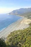 beach and landscape near Nonza village in Cap Corse Peninsula