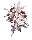 watercolor flowers. floral illustration, bouquet flower in Pastel colors, pink rose. branch of flowers isolated on white background. Leaf and buds. Cute composition for wedding or  greeting card