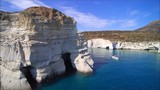 Sailing yacht at the pirates bay (Kleftiko) on the Island of Milos, Cyclades, Greece - 153536651