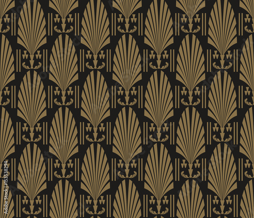 Fototapeta Art Deco Wallpaper. Modern pattern seamless dark black colors. Tile design pattern seamless. Background vector.
