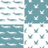 Set of nautical seamless patterns with seagulls and whales.Vector.