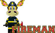 Cute Cartoon Giraffe Fireman - 153559415