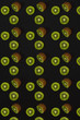 Pattern of kiwi. Top view of the sliced kiwi on black background. Minimal flat lay concept. - 153565251