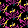 Seamless pattern. Pink flowers lonicera on black background. Vector Eastern illustration. - 153576018