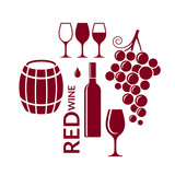 Red wine. Icon set. Abstract wine elements on white background - 153576400