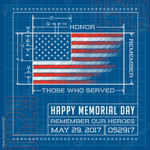 Happy Memorial Day Card Or Banner American Flag Design As A