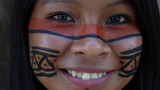 Native Brazilian Girl in a Tupi Guarani Tribe, Brazil - 153580446