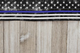 Thin blue line USA old flag on a weathered wood background - 153585642