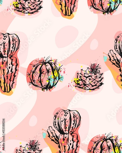 Plakat Hand drawn vector abstract seamless pattern collage with cacti plant illustrations and different shapes isolated on pastel background.Unusual fashion fabric,wedding,decoration,birthday,design element