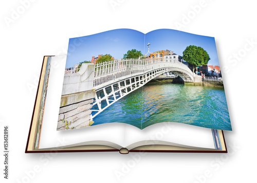 """The most famous bridge in Dublin called """"Half penny bridge"""" due to the toll char Poster"""