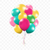 3d Realistic Colorful Bunch of Birthday Balloons Flying for Party and Celebrations With Space for Message Isolated in White Background. Vector Illustration - 153681645