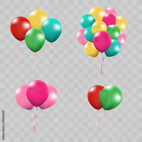 3d Realistic Colorful Bunch of Birthday Balloons Flying for Party and Celebrations With Space for Message Isolated in White Background. Vector Illustration