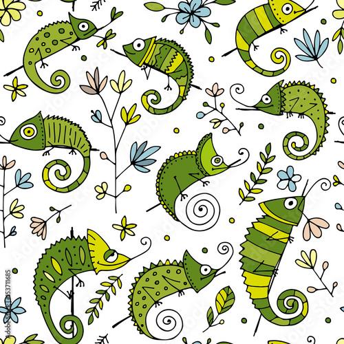 Kolekcja kameleon, bez szwu wzór do projektowania