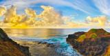Coastal view at sunrise. Panorama