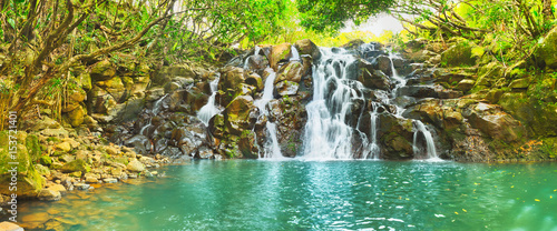 Wodospad Cascade Vacoas. Mauritius. Panorama