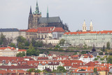 View from Old Town Hall on Prague with Hradcany, Prague Castle , Czech Republic.