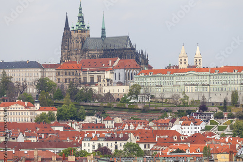 Poster View from Old Town Hall on Prague with Hradcany, Prague Castle , Czech Republic