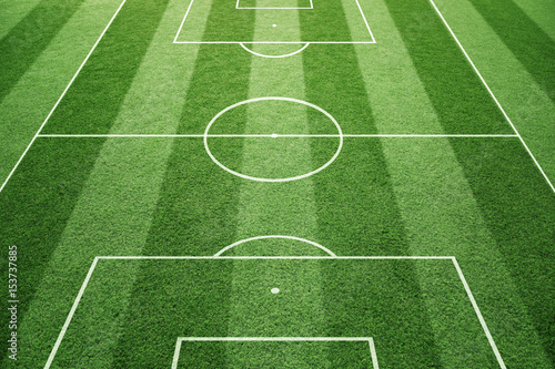 Foto op Canvas Gras Soccer play field ground lines on sunny grass pattern background. Goal side perspective used.