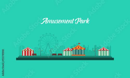Fotobehang Groene koraal Background amusement park and carnival