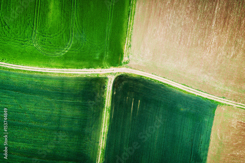 Staande foto Groene Aerial view over the agricultural fields